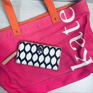 Kate spade tote bag pink orange canvas a wallet